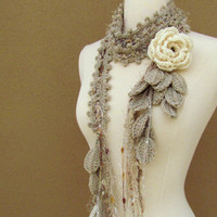 Queen Ann Rose Lariat CreamReserved listing by gsakowskidesigns