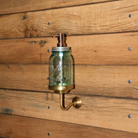 All Brass Wall Mount for your Blue Mason Jar Soap Dispenser