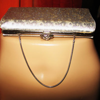 Amazing Vintage Silver Clutch Purse Satin with  Rhinestones And Chain Real  Sixties
