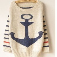 Military style anchor mohair sweet stripes bat shirt sweater from Fashion Accessories Store