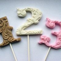3 fancy filigree number hard candy lollipops by VintageConfections