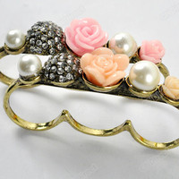 Fashion Retro Style Three Finger Ring Bronze Flower Crystal White Imitate Pearl