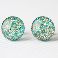 Aqua Confetti Sparkle Post Earrings