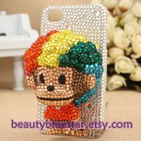 Cute Monkey 3D Crystal iPhone 5 cover,4,4s Hard back Case ,Pearl Cell phone cover,