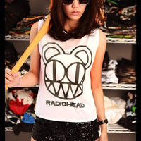 RADIOHEAD Alternative Rock Crop Top Short Tank Top White Gold Shirt Women Size S M