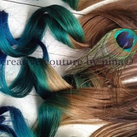 "Peacock Feather Hair Extensions//Peacock Ombre//Peacock DipDye//BurningMan//Teal, Emerald Green Blue Hair //(7) Pieces//18""/Ready To Ship"