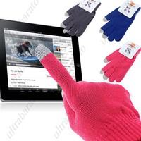 Pair of Unisex Warm Stretchable Knitting Touch Screen Touchscreen Gloves for Capacitive Screens