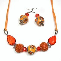 Long Orange Boho Necklace Earrings Set Cotton Glass Kasmiri Bead Brass