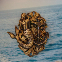 Steampunk Mermaid, Beauty of the Sea Necklace Pendant, Original Art Design, Metal bonded, NOT Glued