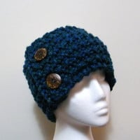 Hand Knit Headband / Ear Warmer or Neckwarmer with Coconut Button in Blue Green
