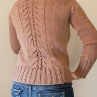 Hand Knit Turtle Neck Sweater in Taupe