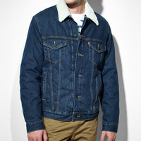 Sherpa Standard Fit Trucker Jacket - Dark Stone Wash