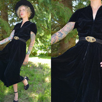 1940's Black Velvet Batwing Cocktail Dress