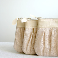 Bridesmaid lace clutch bags Pleated lace and  Pearl effect leather