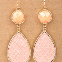 Peach Textured Stone Drop Dangle Earrings from Monica's Closet Essentials