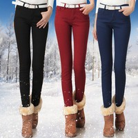 HIGH quality Thicker leggings denim pencil pants plus velvet winter warm pants from Fashion Accessories Store