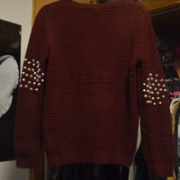 Studded Burgundy Sweater