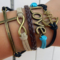 Adjustable leather bracelet, Black wax rope cross anchor bracelet, leather, hope, love bracelet