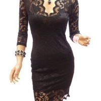 Amazon.com: Patty Women Elegant Black V Neck Floral Lace 3/4 Sleeve Cocktail Party Mini Dress: Clothing