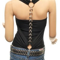 Amazon.com: Patty Women Cowl Neck Backless Chain Draping Halter Tops: Clothing
