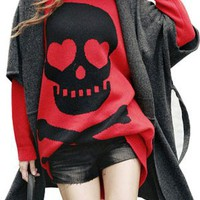Chic and loose - SZ Punk Skeleton Women Ladies Casual Loose Big Skull Long Cool Knit Sweater Dress