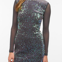 Motel Sheer-Sleeve Sequin Dress