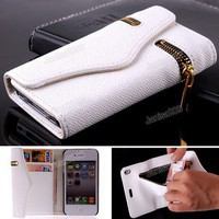 Luxury PU Leather Magnetic Bag Wallet Side Flip Case Cover for iPhone 4 4S White