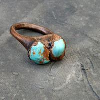 Copper Ring Turquoise Ring Simple Raw Modern by MidwestAlchemy