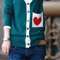 Deep Blue Heart Pocket Cardigan
