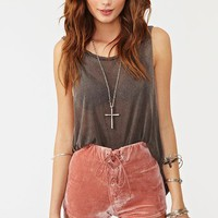 Velvet Corset Shorts - Dusty Rose