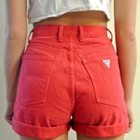 High Waisted Shorts Red Guess Cuffed Vintage Shorts Milky Fr3sh &quot;Molly&quot;