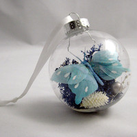Blue Butterfly Ornament by seaandasters on Etsy