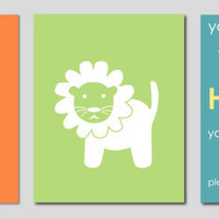 "Monogram/Initial Alphabet print / You are my Sunshine and Lion Silhouette - Modern Art for Nursery - Set of three 8""x10"" prints"
