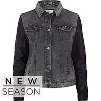 Acid wash leather look sleeve denim jacket