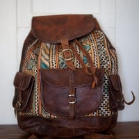 Vintage Bohemian 1970 Kilim Tapestry Leather Backpack