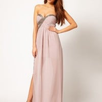 Little Mistress Embellished Bust Maxi Dress at asos.com