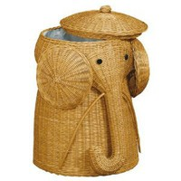 "Amazon.com: Rattan Elephant Hamper, 22""Hx14""D, HONEY: Home & Kitchen"