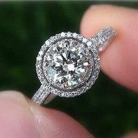 150 carat Round Halo Pave Antique Style Diamond by PetrasRocks