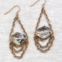 Guilty Pleasures Earrings - $22: From ourchoix.com, dangling multi-chain earrings are centered with bold crystals.