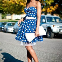 Blue and White Polka Dot Dress Glamfoxx
