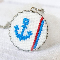 Hand embroidered necklace Anchor
