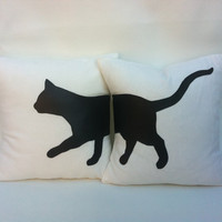 "16""X16"" cream, cat throw cushions"