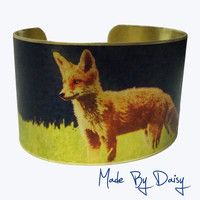 Cuff Bracelet Vintage Style Brass Red Fox Wildlife by madebydaisy