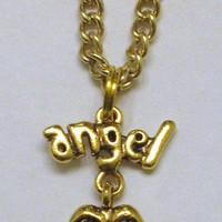 Gold Angel Wings Anklet with Pair of Angel Wings and Angel Word Charm