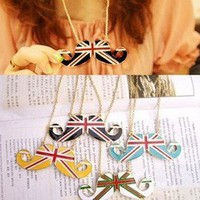1pcs UK Flag United Kingdom Handlebar Mustache Cosplay Pendant Necklace