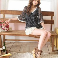 Nifty Polka Dots V Neck Ladies Black Blouses : Yoco-fashion.com