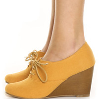 Chelsea Crew Sari Mustard Canvas Summer Oxford Wedges - &amp;#36;65.00 : Fashion Wedges at LuLus.com