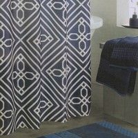 Trellis Navy Blue White Blueprint Geo Quality Luxury Fabric Shower Curtain NEW