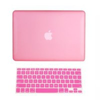 TopCase 2-in-1 Rubberized Hard Case Cover and Keyboard Cover for 13-Inch Macbook White - Pink