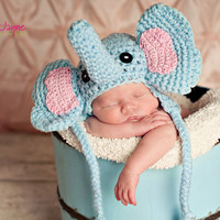 crochet pattern elephant hat  with earflap-  sizes 0-3 month only-etsy